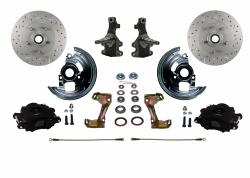 "Front Disc Brake Conversion Kits - LEED Brakes - Spindle Mount Kit With 2"" Drop Spindle Drilled and Slotted Rotors Black Powder Coated Calipers"