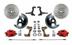 Front Disc Brake Conversion Kits - Spindle Mount Kits - LEED Brakes - Spindle Mount Kit Cross Drilled and Slotted Rotors with Red Powder Coated Calipers
