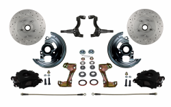 Front Disc Brake Conversion Kits - Spindle Mount Kits - LEED Brakes - Spindle Mount Kit Cross Drilled and Slotted Rotors with Black Powder Coated Calipers