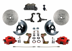 Manual Front Kits - Manual Front Kit - Stock Ride Height - LEED Brakes - Manual Front Disc Brake Kit Drilled & Slotted Rotors with Red Powder Coated Calipers and Adjustable Proportioning Valve