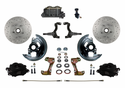 Manual Front Kits - Manual Front Kit - Stock Ride Height - LEED Brakes - Manual Front Disc Brake Kit Drilled & Slotted Rotors with Black Powder Coated Calipers and Adjustable Proportioning Valve