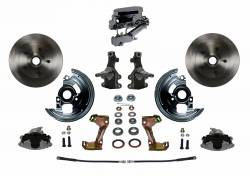 "Front Disc Brake Conversion Kits - Manual Front Kits - LEED Brakes - Manual Front Disc Brake Conversion 2"" Drop Spindle with Chrome Aluminum Flat Top M/C Disc/Disc Side Mount"