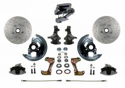 "Front Disc Brake Conversion Kits - Manual Front Kits - LEED Brakes - Manual Front Disc Brake Conversion 2"" Drop Spindle Cross Drilled and Slotted with Chrome Aluminum Flat Top M/C Disc/Disc Side Mount"