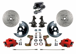 "Front Disc Brake Conversion Kits - Manual Front Kits - LEED Brakes - Manual Front Disc Brake Kit 2"" Drop Spindle Cross Drilled and Slotted Rotors Red Powder Coated Calipers Chrome Aluminum M/C Disc/Disc"