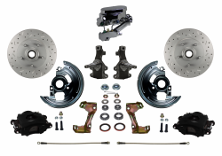"Front Disc Brake Conversion Kits - Manual Front Kits - LEED Brakes - Manual Front Disc Brake Kit 2"" Drop Spindle Cross Drilled and Slotted Rotors Black Powder Coated Calipers Chrome Aluminum M/C Disc/Disc"