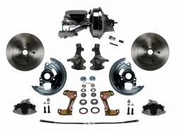 "Front Disc Brake Conversion Kits - Power Front Kits - LEED Brakes - Power Front Disc Brake Conversion Kit 2"" Drop Spindle with 9"" Chrome Booster Flat Top Chrome M/C Disc/Drum Side Mount"
