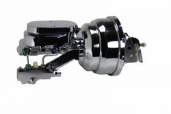 """LEED Brakes - Power Front Disc Brake Kit 2"""" Drop Spindle Drilled and Slotted Black Powder Coated Calipers 9"""" Chrome Booster Disc/Drum - Image 8"""