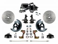 "Front Disc Brake Conversion Kits - Power Front Kits - LEED Brakes - Power Front Disc Brake Conversion Kit 2"" Drop Spindle Cross Drilled and Slotted with 9"" Chrome Booster Flat Top Chrome M/C Disc/Disc Side Mount"