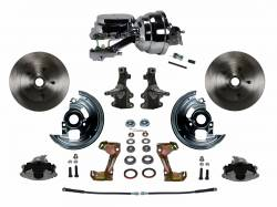 "Front Disc Brake Conversion Kits - Power Front Kits - LEED Brakes - Power Front Disc Brake Conversion Kit 2"" Drop Spindle with 8"" Dual Chrome Booster Flat Top Chrome M/C Disc/Drum Side Mount"