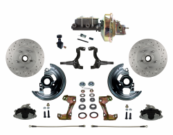 "Front Disc Brake Conversion Kits - LEED Brakes - Power Front Disc Brake Kit MaxGrip XDS Rotors with 9"" Zinc Booster Adjustable Proportioning Valve"