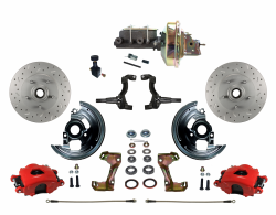 "Front Disc Brake Conversion Kits - LEED Brakes - Power Front Disc Brake Kit MaxGrip XDS Rotors Red Powder Coated Calipers  with 9"" Booster Adjustable Proportioning Valve"