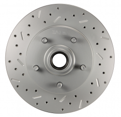 """LEED Brakes - Power Front Disc Brake Conversion Kit 2"""" Drop Spindle Cross Drilled and Slotted with 8"""" Dual Chrome Booster Flat Top Chrome M/C Disc/Disc Side Mount - Image 3"""