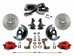 "Power Front Kit - 2"" Drop Spindles - _Standard Kit - LEED Brakes - Power Front Disc Brake Kit 2"" Drop Spindle Drilled and Slotted Red Powder Coated Calipers 8"" Dual Chrome Booster Disc/Disc"