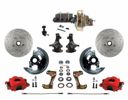 "Front Disc Brake Conversion Kits - All Front Disc Brake Kits - LEED Brakes - Front Disc Brake Kit 2"" Drop Spindle Drilled and Slotted Rotors Red Powder Coated Calipers 9"" Booster Adjustable Proportioning Valve"