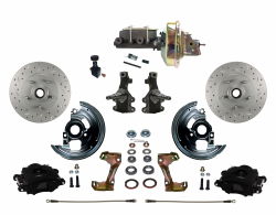 "Front Disc Brake Conversion Kits - All Front Disc Brake Kits - LEED Brakes - Front Disc Brake Kit 2"" Drop Spindle Drilled and Slotted Rotors Black Powder Coated Calipers 9"" Booster Adjustable Proportioning Valve"