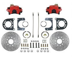 Rear Disc Brake Conversion Kits - Red Powder Coated Rear Disc Brake Kits - LEED Brakes - Rear Disc Brake Conversion Kit - MaxGrip XDS- Red Powder Coated Calipers - Ford 8in 9in Small bearing
