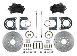 Rear Disc Brake Conversion Kits - Black Powder Coated Rear Disc Brake Kits - LEED Brakes - Rear Disc Brake Conversion Kit - MaxGrip XDS- Black Powder Coated Calipers - Ford 8in 9in Small bearing