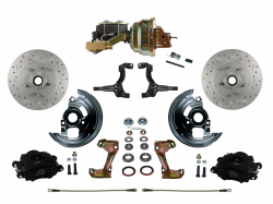 "Power Front Kits - Power Front Kit - Stock Ride Height - LEED Brakes - Power Front Disc Brake Kit Drilled & Slotted Rotors Black Powder Coated Calipers with 8"" Dual Booster Disc/Drum"