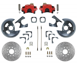 Rear Disc Brake Conversion Kits - Red Powder Coated Rear Disc Brake Kits - LEED Brakes - Rear Disc Brake Conversion Kit - MaxGrip XDS - Red Powder Coated Calipers - GM 10 & 12 Bolt Axles 5 x4.75 non Staggered Shocks