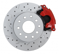 LEED Brakes - Rear Disc Brake Conversion Kit - MaxGrip XDS - Red Powder Coated Calipers - GM 10 & 12 Bolt Axles 5 x4.75 non Staggered Shocks - Image 3