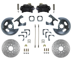 Rear Disc Brake Conversion Kits - Black Powder Coated Rear Disc Brake Kits - LEED Brakes - Rear Disc Brake Conversion Kit - MaxGrip XDS - Black Powder Coated Calipers - GM 10 & 12 Bolt Axles 5 x4.75 non Staggered Shocks
