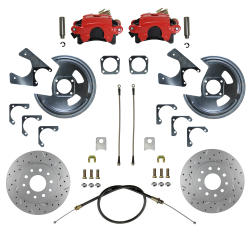 Rear Disc Brake Conversion Kits - Red Powder Coated Rear Disc Brake Kits - LEED Brakes - Rear Disc Brake Conversion Kit - MaxGrip XDS - Red Powder Coated Calipers - GM 10 & 12 Bolt Axles 5 x4.75 with Staggered Shocks