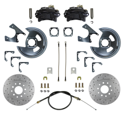 Rear Disc Brake Conversion Kits - Black Powder Coated Rear Disc Brake Kits - LEED Brakes - Rear Disc Brake Conversion Kit - MaxGrip XDS - Black Powder Coated Calipers - GM 10 & 12 Bolt Axles 5 x4.75 with Staggered Shocks