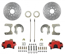 Rear Disc Brake Conversion Kits - Red Powder Coated Rear Disc Brake Kits - LEED Brakes - Rear Disc Brake Conversion Kit - with MaxGrip XDS Rotors - Red Powder Coated Calipers Mopar 8-3/4 9-3/4 Rear Axles