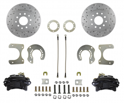 Rear Disc Brake Conversion Kits - Black Powder Coated Rear Disc Brake Kits - LEED Brakes - Rear Disc Brake Conversion Kit - with MaxGrip XDS Rotors - Black Powder Coated Calipers Mopar 8-3/4 9-3/4 Rear Axles