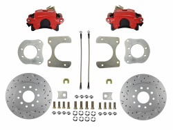 Rear Disc Brake Conversion Kits - Red Powder Coated Rear Disc Brake Kits - LEED Brakes - Rear Disc Brake Conversion Kit - Mopar 8-1/4  9-1/4 Rear Axles MaxGrip XDS Rotors with Red Calipers