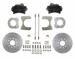Rear Disc Brake Conversion Kits - Black Powder Coated Rear Disc Brake Kits - LEED Brakes - Rear Disc Brake Conversion Kit - Mopar 8-1/4  9-1/4 Rear Axles MaxGrip XDS Rotors with Black Calipers