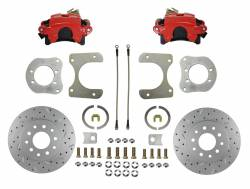 Rear Disc Brake Conversion Kits - Red Powder Coated Rear Disc Brake Kits - LEED Brakes - Rear Disc Brake Conversion Kit with MaxGrip XDS Rotors Red Calipers - Dana 35, Dana 44, Chrysler 8-1/4
