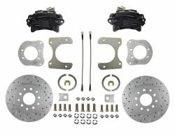 Rear Disc Brake Conversion Kits - Black Powder Coated Rear Disc Brake Kits - LEED Brakes - Rear Disc Brake Conversion Kit with MaxGrip XDS Rotors Black Calipers - Dana 35, Dana 44, Chrysler 8-1/4