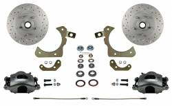 Front Disc Brake Conversion Kits - Spindle Mount Kits - LEED Brakes - Spindle Mount Kit with MaxGrip Cross Drilled & Slotted Rotors