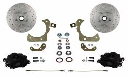 Spindle Mount Kit - Stock Ride Height - MaxGrip XDS Upgrade - Black Powder Coat - LEED Brakes - Spindle Mount Kit with MaxGrip Cross Drilled & Slotted Rotors Black Calipers