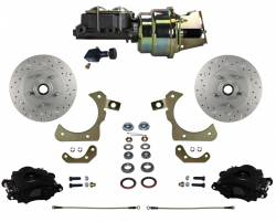 Power Front Kits - Power Front Kit - Stock Ride Height - LEED Brakes - Power Front Disc Brake Conversion Kit with Adjustable Proportioning Valve | MaxGrip XDS | Black Calipers