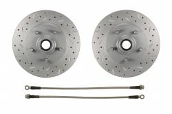 LEED Brakes - Spindle Mount Kit with MaxGrip Cross Drilled & Slotted Rotors Red Calipers - Image 4