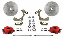 Front Disc Brake Conversion Kits - Spindle Mount Kits - LEED Brakes - Spindle Mount Kit with MaxGrip Cross Drilled & Slotted Rotors Red Calipers