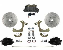 Manual Front Kits - Manual Front Kit - Stock Ride Height - LEED Brakes - Manual Front Disc Brake Conversion Kit with Adjustable Proportioning Valve | MaxGrip XDS | Black Calipers