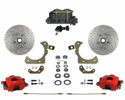 Manual Front Kits - Manual Front Kit - Stock Ride Height - LEED Brakes - Manual Front Disc Brake Conversion Kit with Adjustable Proportioning Valve | MaxGrip XDS | Red Calipers