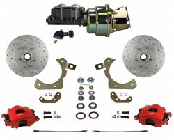Power Front Kit - Stock Ride Height - MaxGrip XDS Upgrade - Red Powder Coat - LEED Brakes - Power Front Disc Brake Conversion Kit with Adjustable Proportioning Valve | MaxGrip XDS | Red Calipers