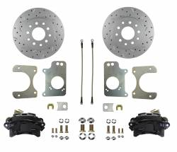 Rear Disc Brake Conversion Kits - Black Powder Coated Rear Disc Brake Kits - LEED Brakes - Rear Disc Brake Conversion Kit - GM 10 Bolt Axles with 3 Bolt Flange - Black Calipers and MaxGrip XDS