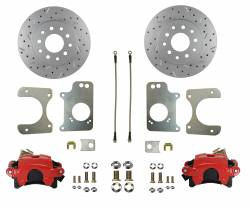 Rear Disc Brake Conversion Kits - Red Powder Coated Rear Disc Brake Kits - LEED Brakes - Rear Disc Brake Conversion Kit - GM 10 Bolt Axles with 3 Bolt Flange - Red Calipers and MaxGrip XDS