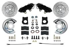 Front Disc Brake Conversion Kits - Spindle Mount Kits - Spindle Kit with Drilled Rotors and Black Powder Coated Calipers