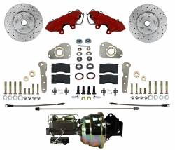 Power Front Kit with Drilled Rotors and Red Powder Coated  Calipers