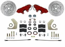 Spindle Kit with Drilled Rotors and Red Powder Coated Calipers