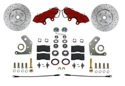 Front Disc Brake Conversion Kits - Spindle Mount Kits - Spindle Kit with Drilled Rotors and Red Powder Coated Calipers