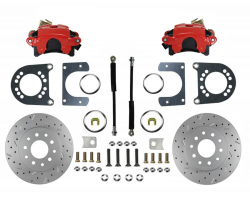 Rear Disc Brake Conversion Kit - GM Full Size - Red Caliper and MaxGrip XDS - Image 1