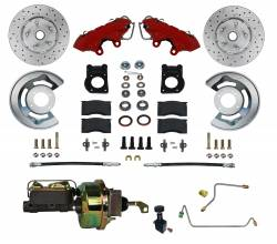 LEED Brakes - 1964-66 Mustang Power Front Kit with Drilled Rotors and Red Powder Coated Calipers for Factory Manual Transmission Cars